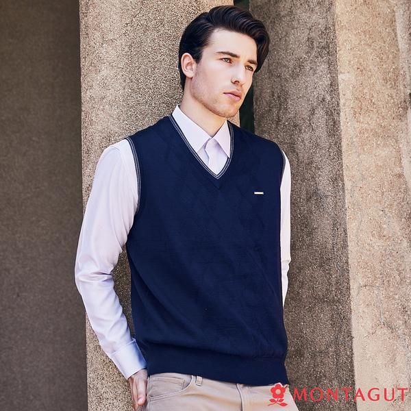 男款羊毛針織背心 夢特嬌 藝人穿搭款學院風 深藍色