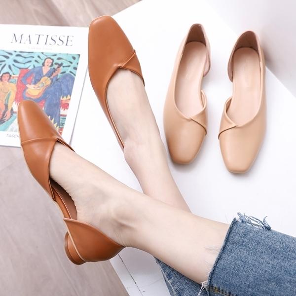 低跟鞋.MIT百搭素面皮革拼接側簍空方頭包鞋.白鳥麗子