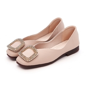 MICHELLE PARK 優雅公主 柔軟牛皮水鑽方形大飾扣包鞋-奶茶
