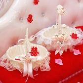 婚禮花童撒花小花籃手提蕾絲撒花瓣