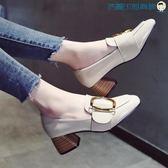 單鞋女韓版英倫風方頭粗跟小皮鞋【洛麗的雜貨鋪】