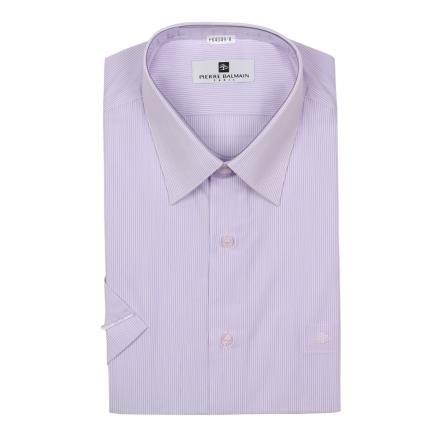 【南紡購物中心】【PIERRE BALMAIN 皮爾帕門】短袖襯衫-淺紫細條紋(F2)