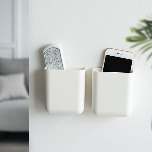 空調遙控器收納掛架 壁掛式收納盒 手機充電壁掛盒