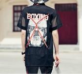 找到自己 MD 韓國 潮 男 嘻哈 街頭時尚 翻領圖案 網紗鏤空織帶另類 夜店DJ發型師 短袖T恤 特色短T
