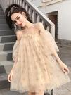 連衣裙仙女裙超仙夏季新款甜美網紗一字肩露肩長款蓬蓬裙子潮 洛小仙女鞋