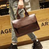 新款潮包時尚休閒男包男士復古側背包商務公文包英倫風手提包