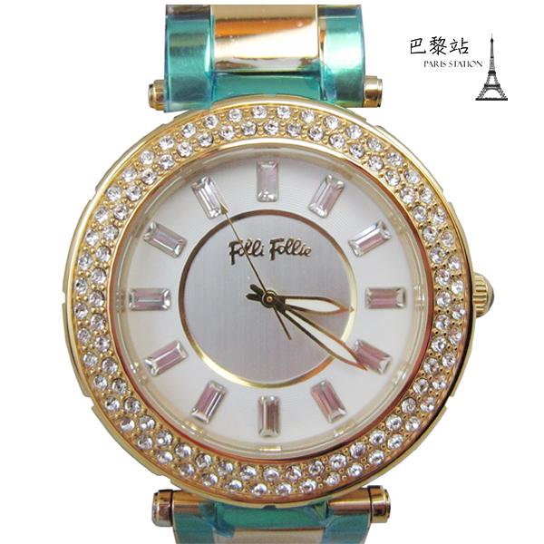 【巴黎站二手名牌專賣店】*現貨*Folli Follie 真品* 金框大鏡面 水鑽時尚精品腕錶 (40mm)