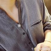 簡約小花胸針女防走光領口別針裝飾創意百搭襯衫扣針開衫固定扣