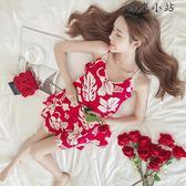 睡衣女春夏季短袖純棉吊帶兩件套