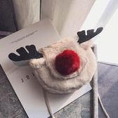側背包ins超火小包包女可愛毛毛馴鹿小方包圣誕百搭單肩斜挎包