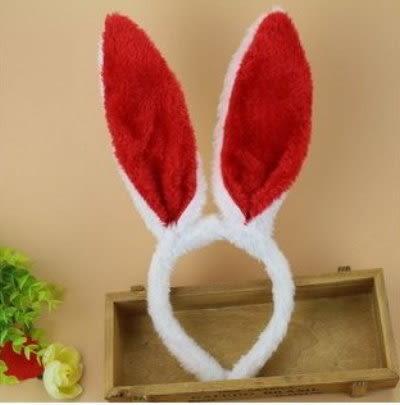 發光兔耳朵(絨毛)~~紅色~ 發光頭圈/發光牛角/舞台表演道具/ 夜市/ 跨年/ 園遊會/ 婚禮小物