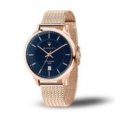 MASERATI瑪莎拉蒂 GENTLEMAN玫瑰金藍面米蘭帶腕錶43mm(R8853136003)
