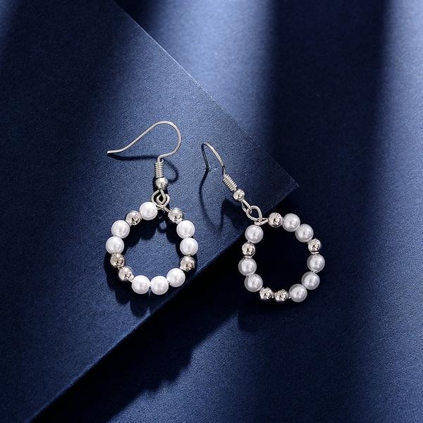 【免運到手價$98】名媛氣質仿珍珠耳環女韓國簡約幾何圓形耳墜潮人時尚個性耳飾