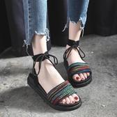 波西米亞海邊度假沙灘涼鞋女平底鞋新款綁帶厚底羅馬旅游鞋潮 ☸mousika