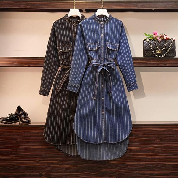*ORead*大碼女裝條紋牛仔襯衫裙(2色XL~4XL)