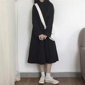 長袖洋裝秋冬新款連身裙長袖日系酷女孩襯衫裙女中長款閨蜜裝學院風小黑裙