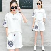 運動套裝女士夏季2018休閑服短袖短褲韓版寬鬆時尚新款 JA2870『美鞋公社』