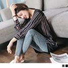 《DA7365-》假兩件條紋襯衫拼接洋裝...