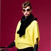 【SHOWCASE】垂墜寬版方連袖針織上衣(黑/黃)