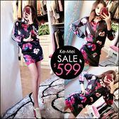 克妹Ke-Mei【AT47652】歐美辛辣龐克玫瑰圖印單槓袖棒球外套+短裙套裝