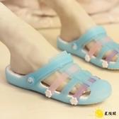 新款防滑平底涼鞋女夏季瑪麗珍韓版可愛洞洞鞋外穿時尚沙灘拖鞋潮