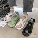 涼鞋女仙女風2021夏季新款學生百搭厚底鬆糕羅馬沙灘鞋涼靴潮 快速出貨