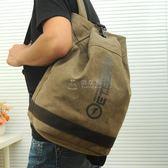 男款雙肩包雙肩包男士時尚潮流韓版學生書包帆布水桶包休閒旅行背 俏女孩
