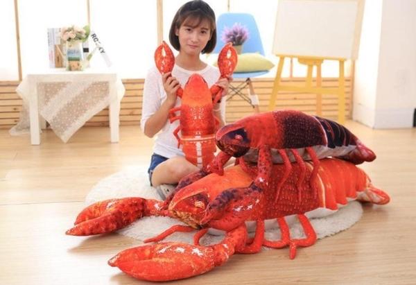 【60公分】大龍蝦抱枕 海中生物 仿真玩偶 絨毛娃娃 生日禮物 餐廳擺設裝飾布置 聖誕節交換禮物