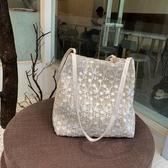 草編包仙女包包夏天新款韓版草編蕾絲側背包手提包女士大容量水桶購物袋 交換禮物