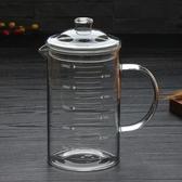 玻璃量杯加厚帶刻度的耐熱玻璃量杯可微波爐加熱帶把大容量牛奶杯1000 玩趣3C