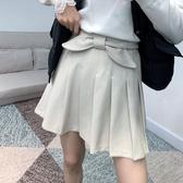 百褶裙(短裙)-蝴蝶結學院風純色毛呢女裙子4色73xg25[時尚巴黎]