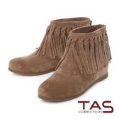 ★2017AW★TAS 波希米亞編織流蘇擦色麂皮內增高短靴-復古棕