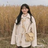 棉衣/棉服女-仿羊羔毛加厚棉衣棉服女冬裝年新款韓版寬松復古牛角扣外套潮 多麗絲旗艦店