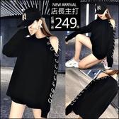 克妹Ke-Mei【AT63751】歐美金屬圓杯性感摟空寬鬆oversize長版T恤上衣