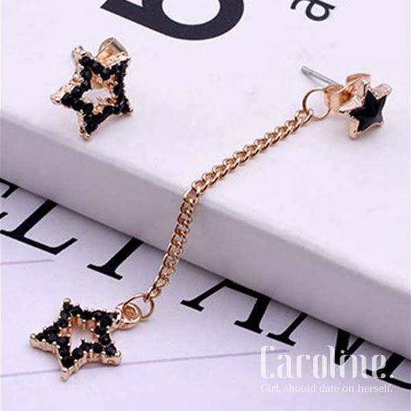 《Caroline》★韓國官網熱賣黑色水鑽星星不對稱 優雅浪漫風格時尚流行耳環69534