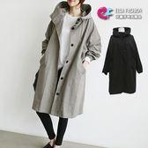 過膝外套風衣韓流 個性裝扮雙口袋長版連帽風衣外套 艾爾莎【TGK4242】
