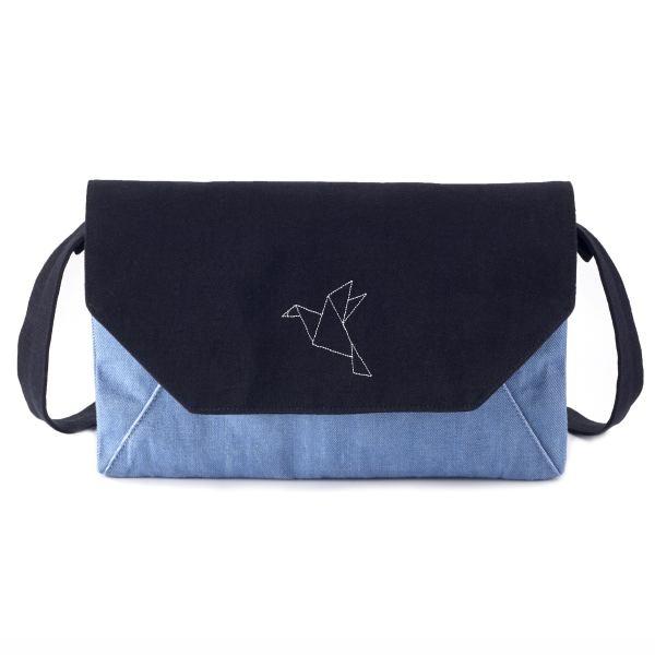 啵啵貓 紙鶴簡約斜背包/側背包/拼布包包