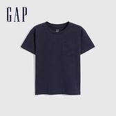 Gap男幼童 厚磅密織系列碳素軟磨 純棉短袖T恤 755301-海軍藍
