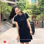 洋裝 韓版 polo領短袖a字連身裙 花漾小姐【預購】