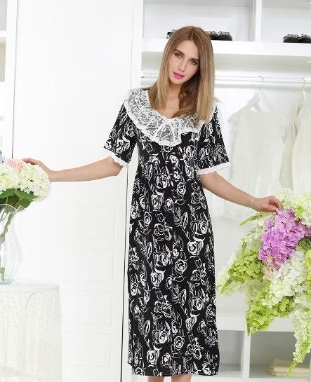[協貿國際]春夏黑色玫瑰花純棉加大蕾絲睡衣家居服
