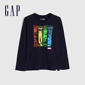 Gap男童 Gap x Marvel 漫威系列漸層風格圓領長袖T恤 657912-靛藍色