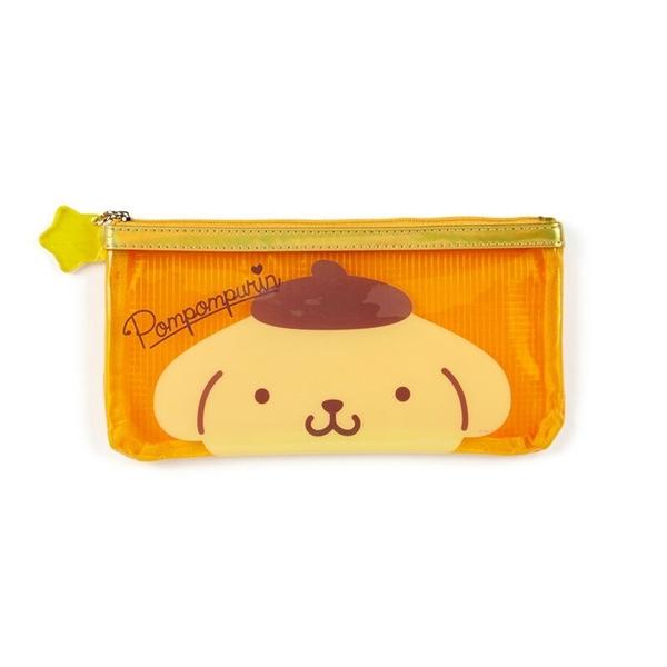 小禮堂 布丁狗 防水網格拉鍊筆袋 扁平筆袋 透明筆袋 鉛筆袋 文具袋 (黃 果凍文具) 4550337-58283