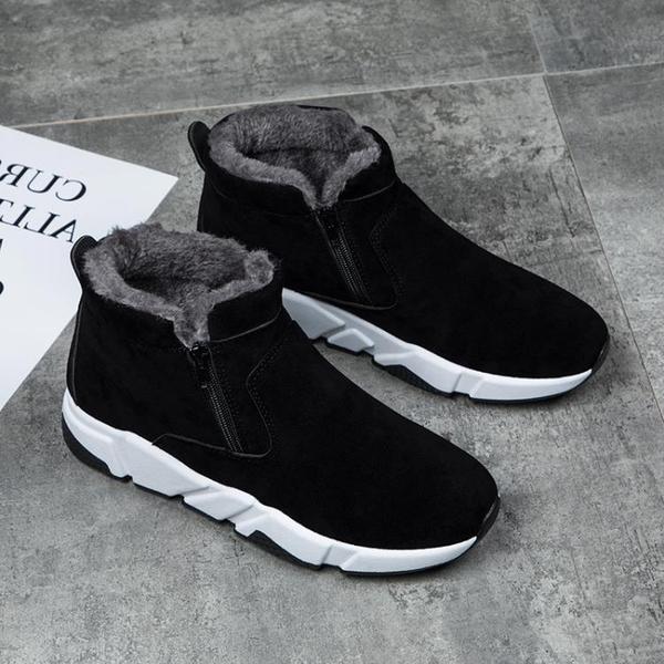 冬季男雪靴一腳蹬棉鞋保暖加絨加厚潮流馬丁靴