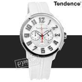 Tendence 天勢表 / TY460010 / 立體刻度 經典三眼 日期 礦石強化玻璃 防水100米 矽膠手錶 白色 46mm