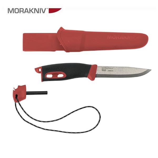 丹大戶外用品【MORAKNIV】瑞典 Companion Spark 直刀(附打火石) 紅 13571