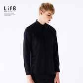 Formal 六零細支 領飾滾邊 長袖襯衫-黑色【11154】
