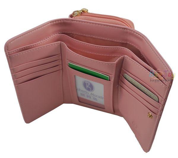 Roberto Mocali 諾貝兔 咖啡桃心系列 拉鍊零錢袋扣式中夾(RM-52202)