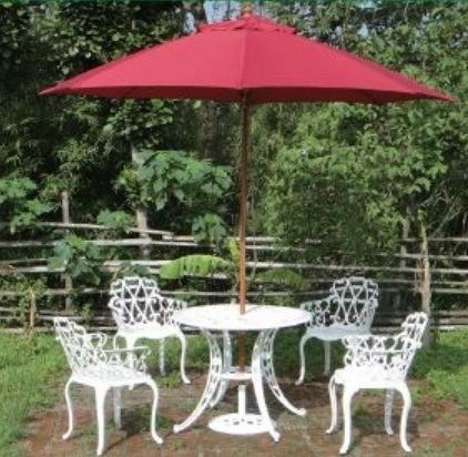 【南洋風休閒傢俱】戶外休閒桌椅系列-玫瑰玻纖傘座桌椅組 戶外餐桌椅組 適民宿 餐廳 (#236A #018C)