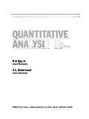 二手書博民逛書店 《Quantitative Analysis》 R2Y ISBN:0137467281│Prentice Hall