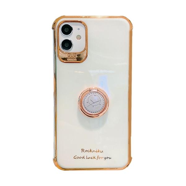 文藝風 邊框電鍍 指針指環 四角防摔 防摔殼 iPhone XR Xs 7/8 plus SE2 蘋果 手機殼
